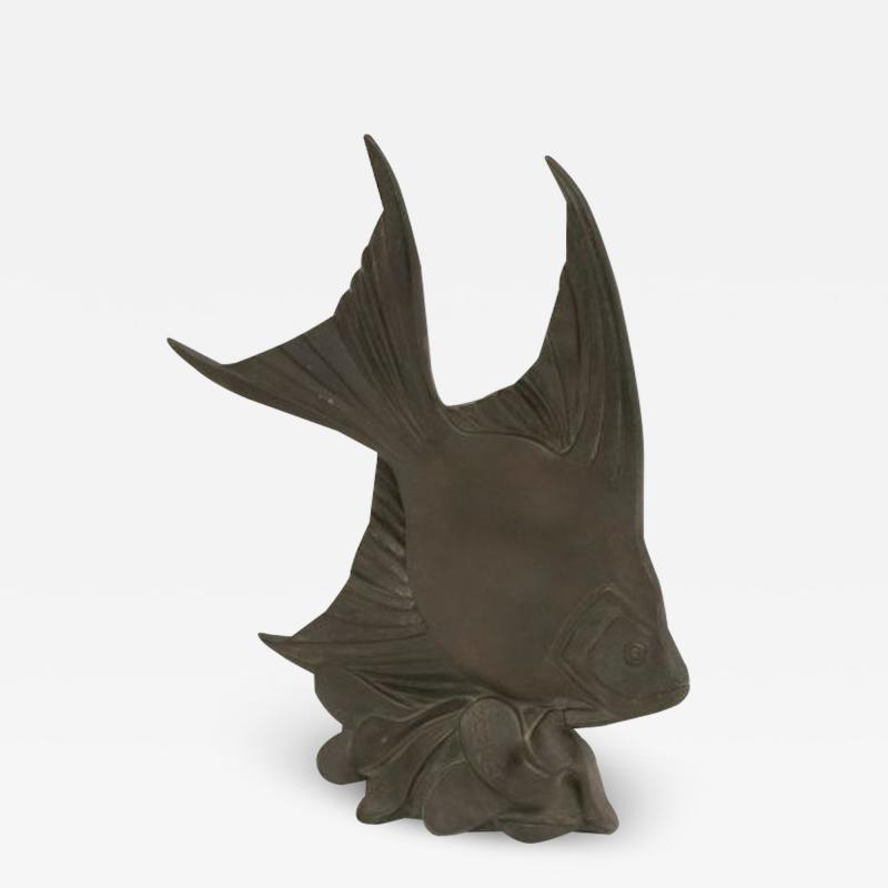 Art deco bronze sculpture of an angle fisherwoman by Scalar