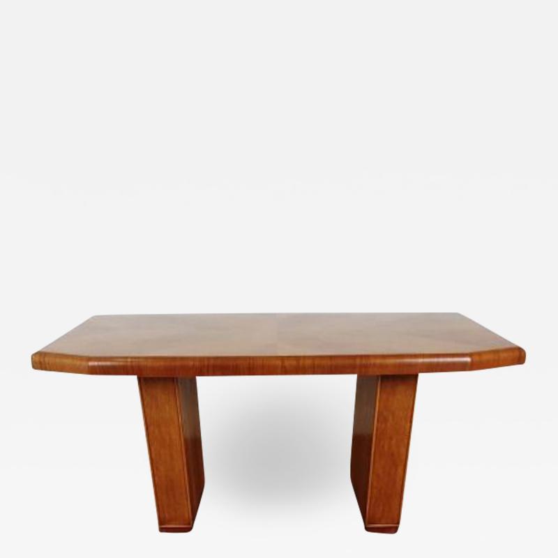 Art deco golden oak pedestal dining table