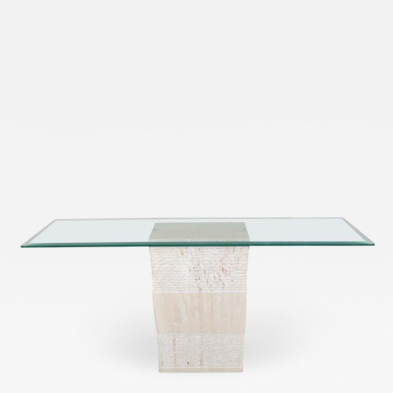 Artedi Contemporary Italian Travertine Marble Console Table after Artedi