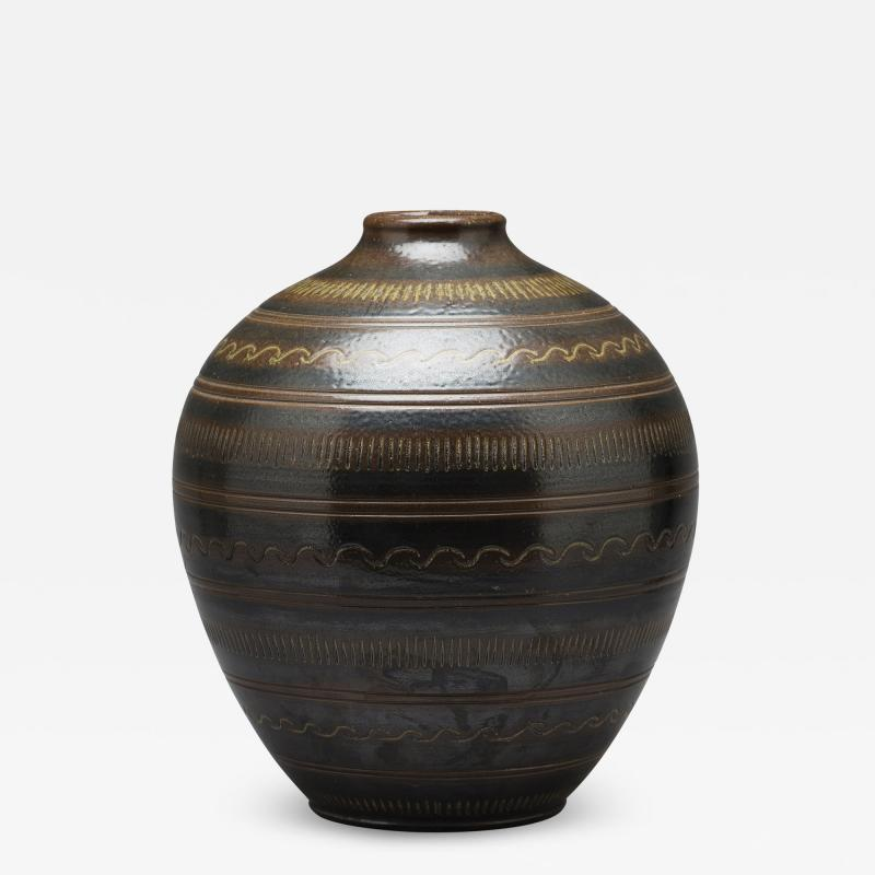 Arthur Andersson Monumental Vase with Carved Ornaments by Arthur Andersson for Wall kra