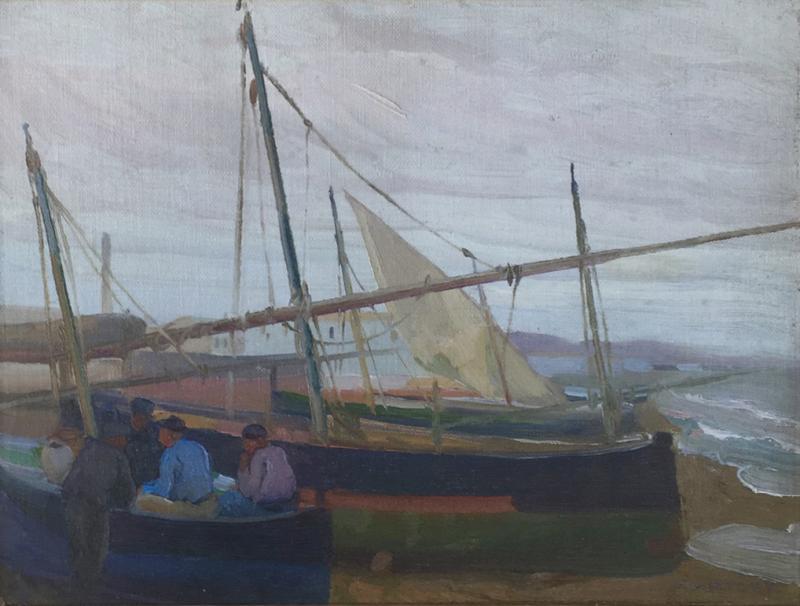 Arthur Grover Rider Spanish Coastal Scene with Fishermen in Boats