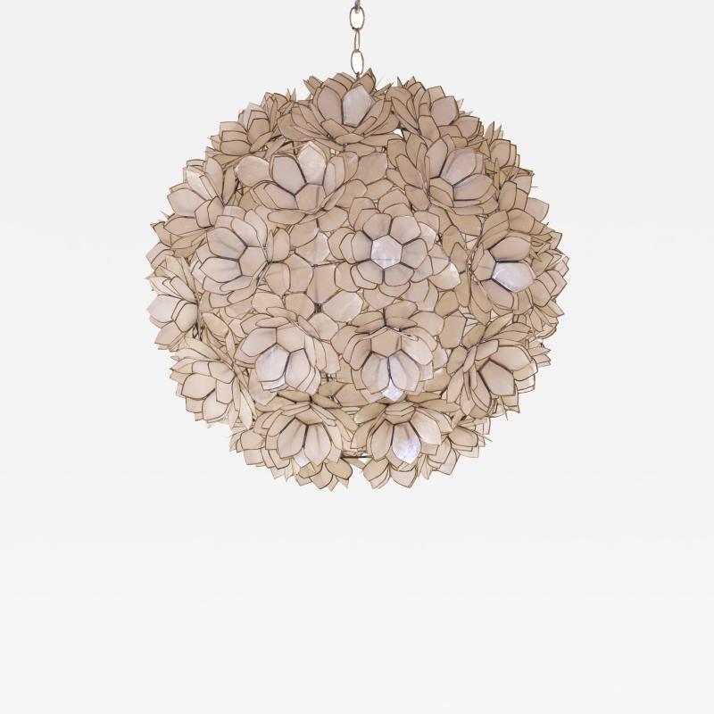 Artisan Flower Chandelier with Translucent Sea Shells 1970s