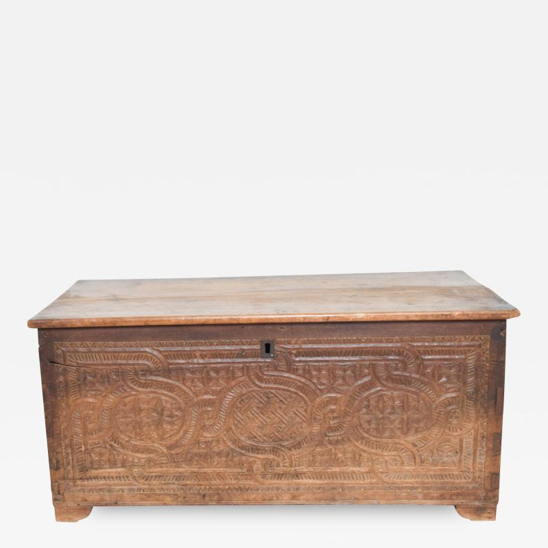 Artisan Hand Carved Blanket Chest in Solid Wood with Relief Detail 1920s