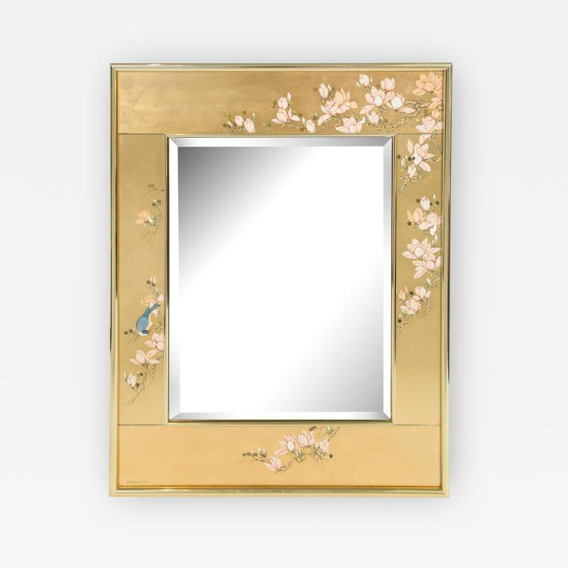 Artisan Reverse Painted Mirror in Gold Leaf with Magnolia Branches 1988 Signed