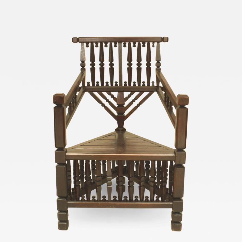 Arts Crafts Dark Oak Arm Chair