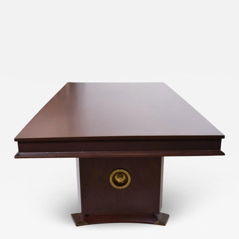 Arturo Pani 1950s Mahogany Brass Medallion Presidential Executive Dining Table Mexico City