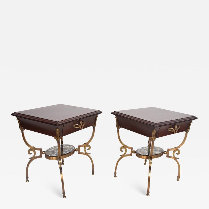 Arturo Pani Fabulous French Side Tables Eglomise Bronze Mahogany Nightstands Arturo Pani