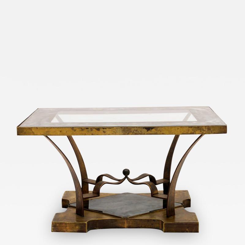 Arturo Pani Mexican Modern Arturo Pani Brass Eglomise Sculptural SIDE ACCENT Table 1950s