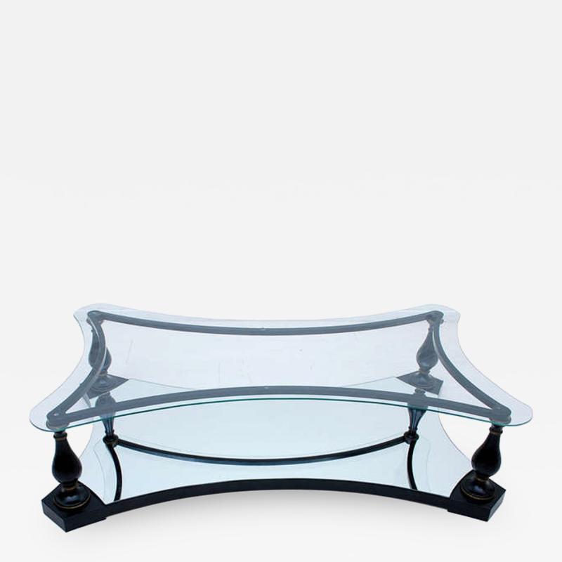 Arturo Pani Midcentury Neoclassical Black Iron Brass and Glass Coffee Table by Arturo Pani