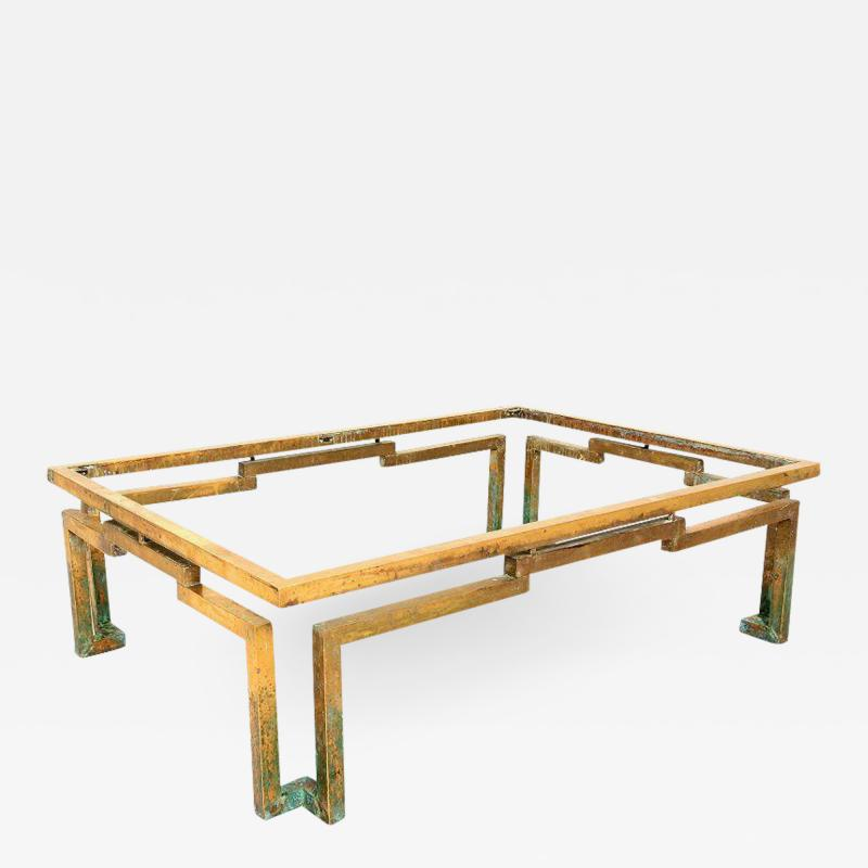 Arturo Pani Modernist Arturo Pani Geometric Greek Design Coffee Table in Brass Mexico 1950s