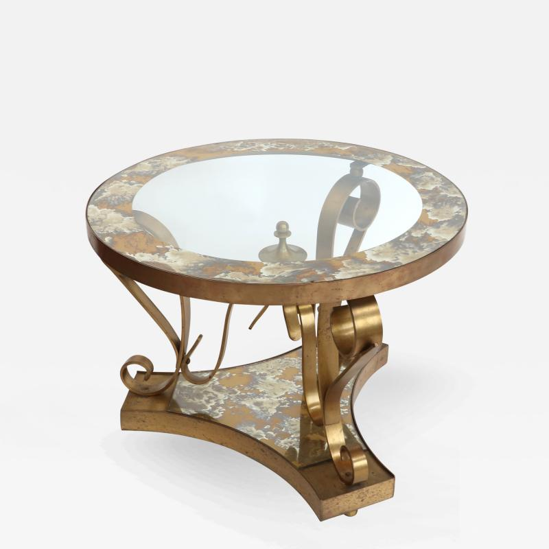 Arturo Pani Pair of 1950s Brass Side Tables by Arturo Pani with Glass Top