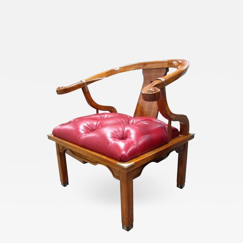 Asian Chair in Ox Blood Red Leather