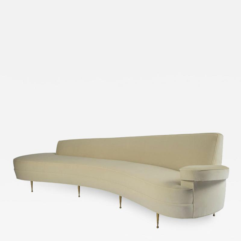 Asymmetrical Curve Back Italian Style Sofa Left Arm