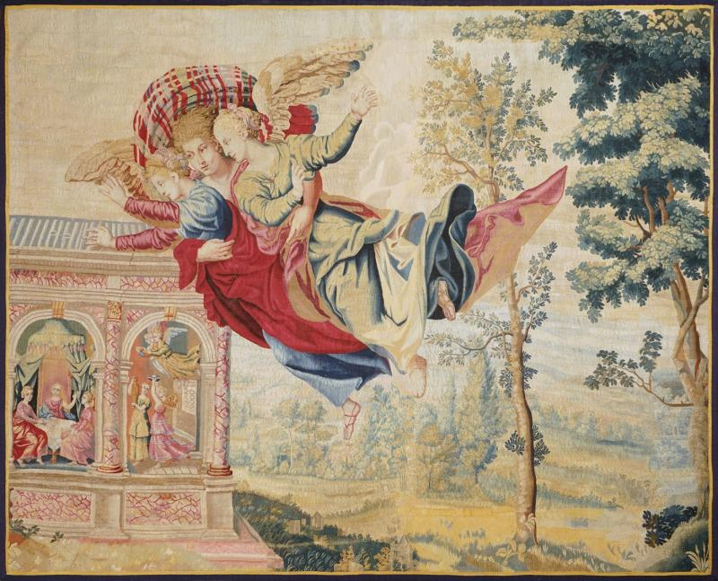 Atelier Faubourg Saint Germain Mid 17th Century antique tapestry Eros bringing the two sisters of Psych