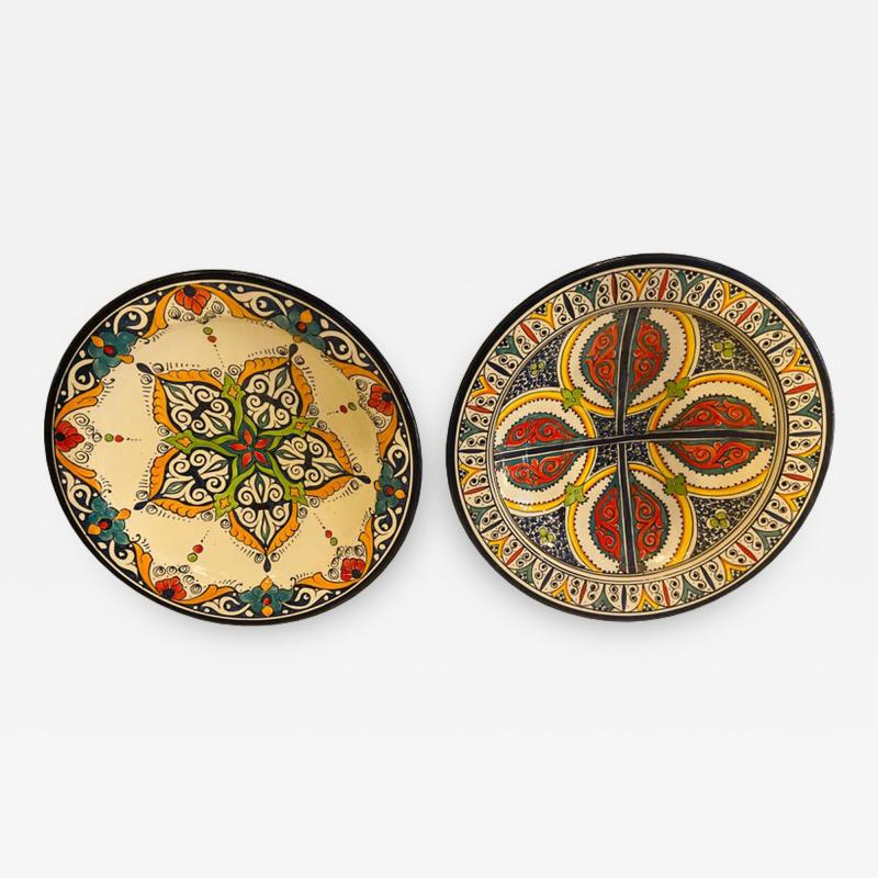 Atlas Showroom A Pair of Hand Painted Large Ceramic Serving or Decorative Plates