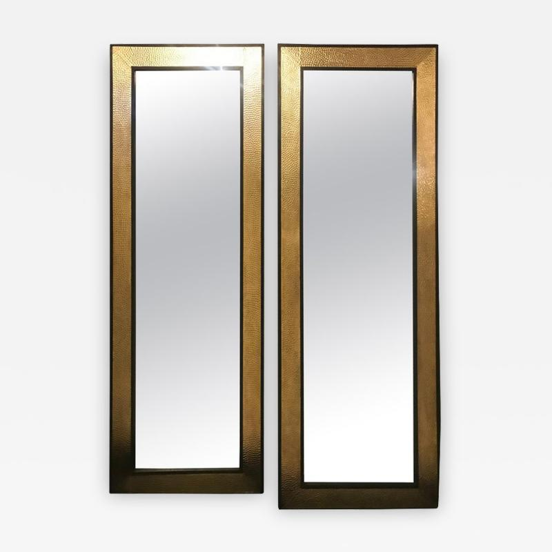 Atlas Showroom A Pair of Mid Century Modern Style Gold Brass Wall or Console or Floor Mirrors