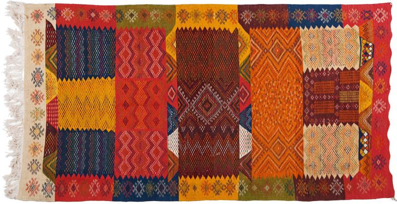 Atlas Showroom Berber Medium Rug Handwoven Wool with Organic Multicolor Dye