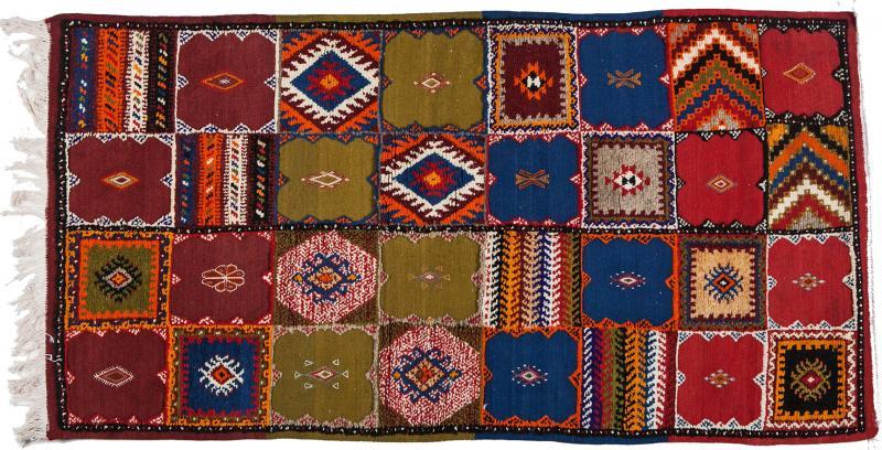 Atlas Showroom Berber Medium Rug Handwoven in Morocco with Polychrome Panels
