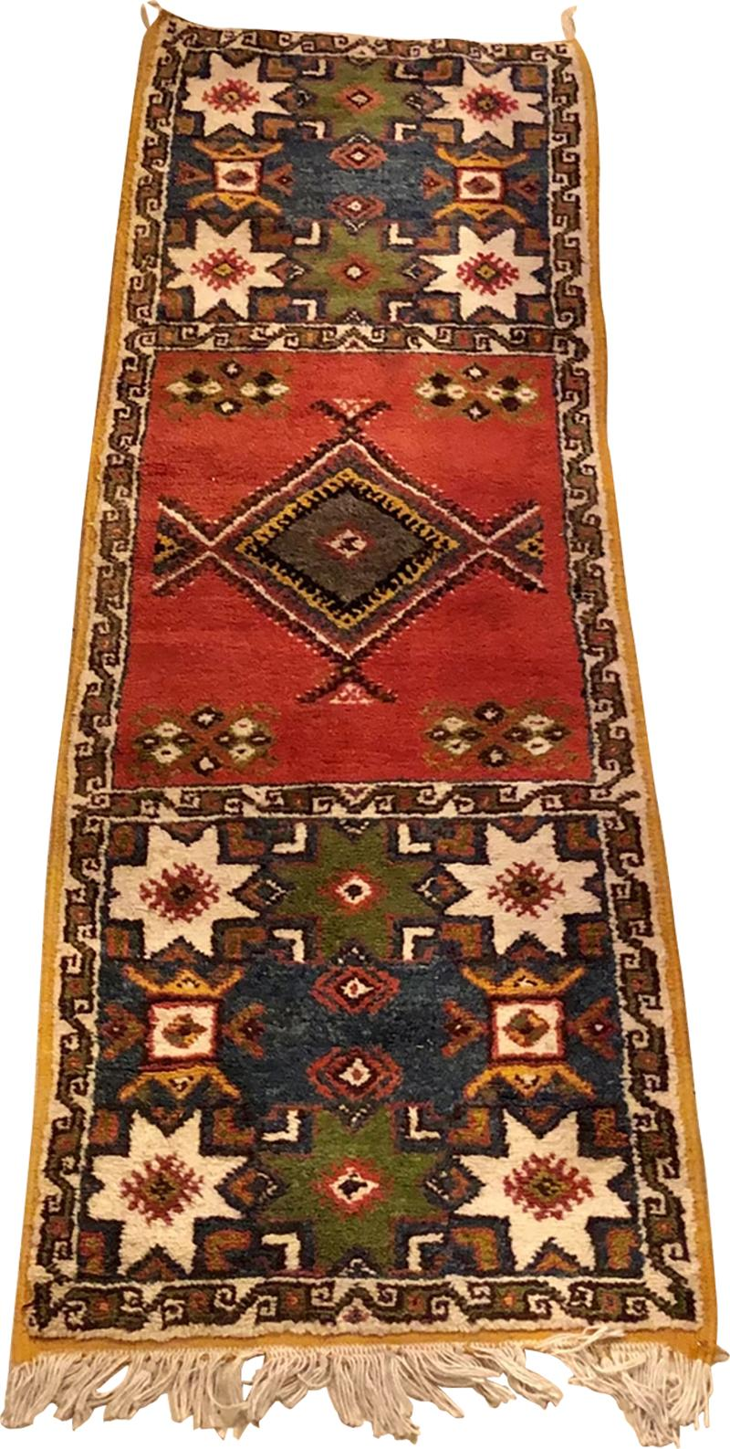 Atlas Showroom Berber Tribal Moroccan Multicolor Wool Runner Rug