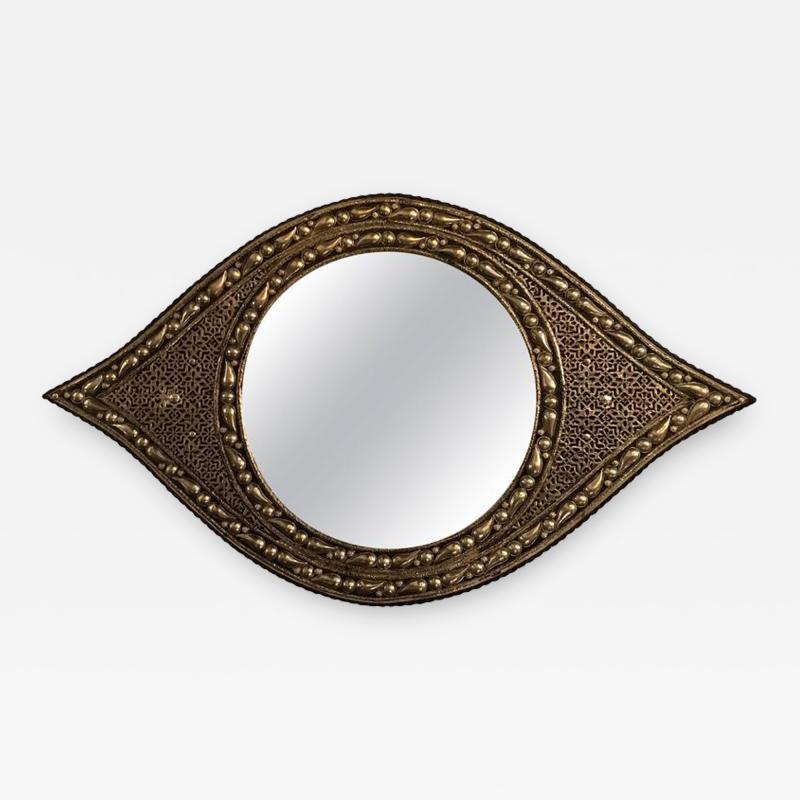 Atlas Showroom Eye Ball Form Art Deco Style Metal Wall Mirror