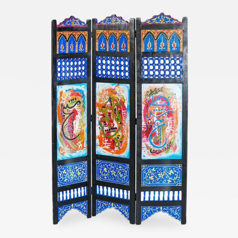 Atlas Showroom Hand Painted Moroccan Room Divider or Folding Screen