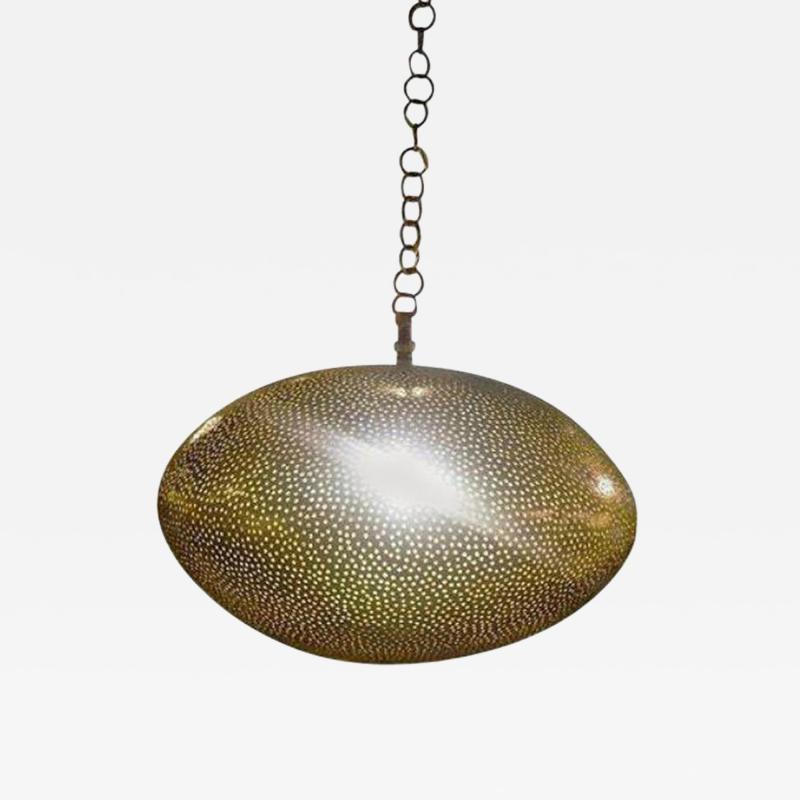 Atlas Showroom Medium Oval Shaped Brass Pendant Chandelier
