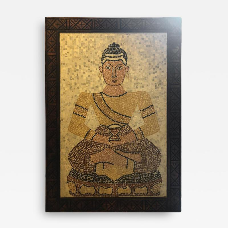 Atlas Showroom Micro Mosaic Tile Wall Plaque or Table Top of a Seated Woman in Wood Frame