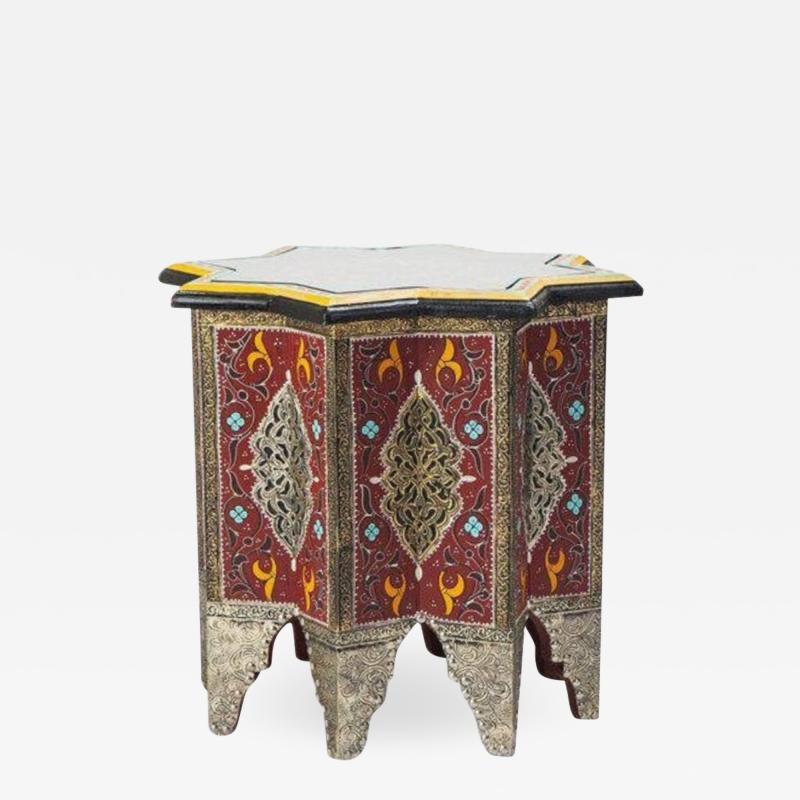Atlas Showroom Moorish Brass and Wood Moroccan Brown End Table