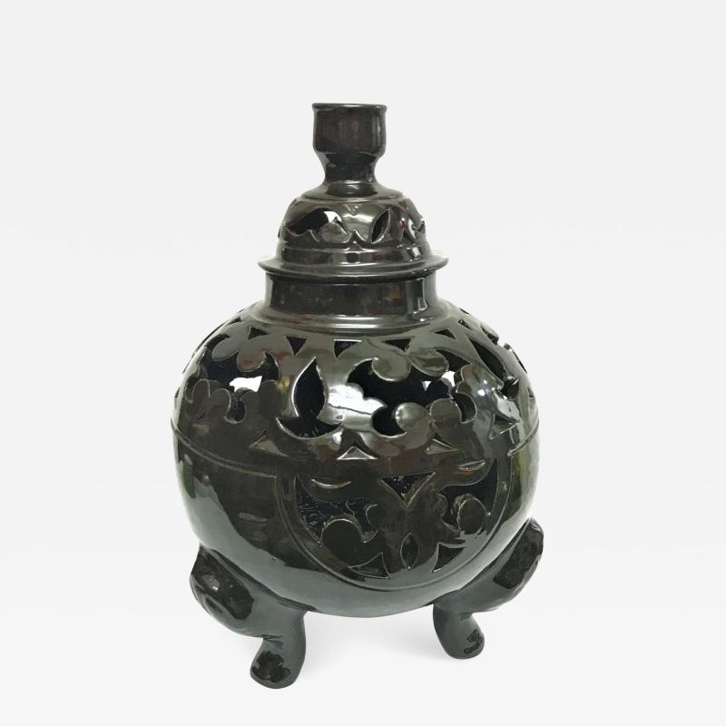 Atlas Showroom Moroccan Black Handcrafted Ceramic Vase or Lantern with Lid