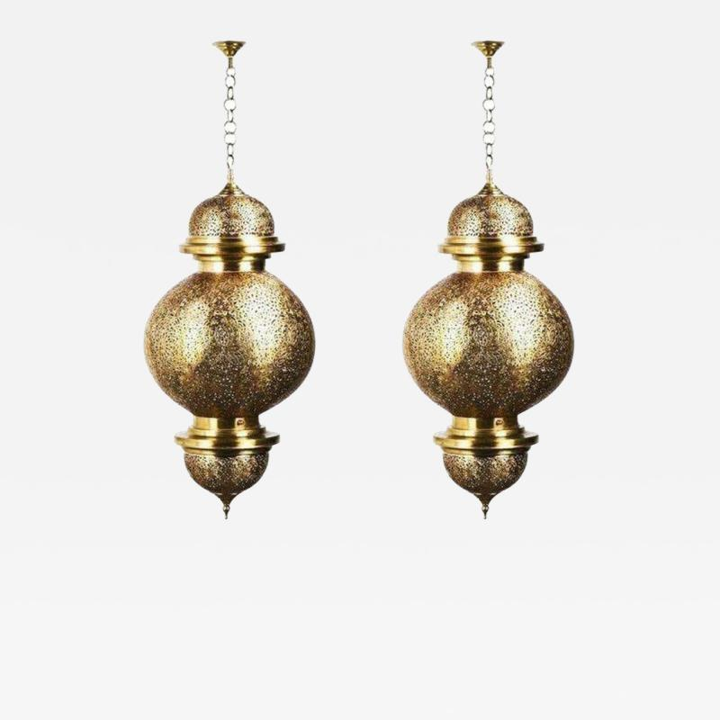 Atlas Showroom Moroccan Chandelier or Pendant in Brass with Filigree Design a Pair