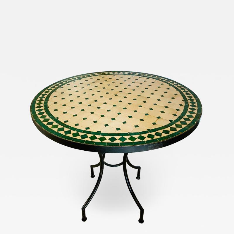 Atlas Showroom Moroccan Mosaic Bistro or Garden Table in Green and Off White