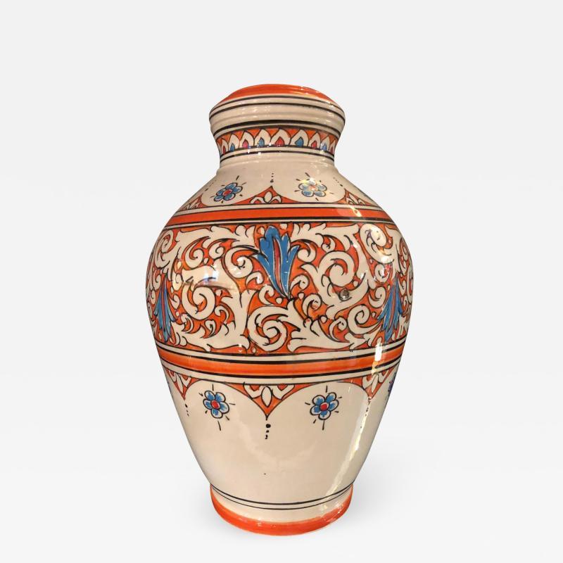 Atlas Showroom Moroccan Vintage Hand Painted Orange White and Blue Vase