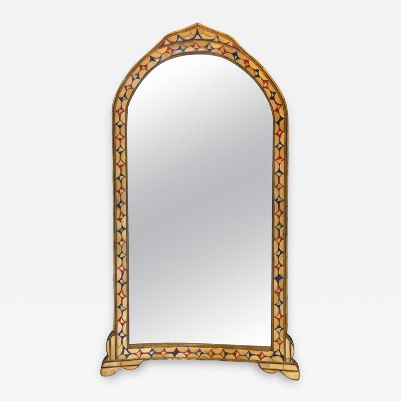 Atlas Showroom Moroccan White Red and Blue Colored Bone over Brass Frame Floor Wall Mirror