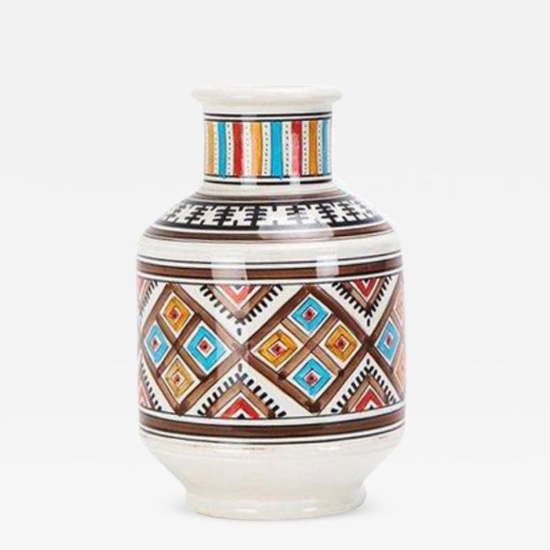 Atlas Showroom Moroccan hand crafted Square Brown and White Vase