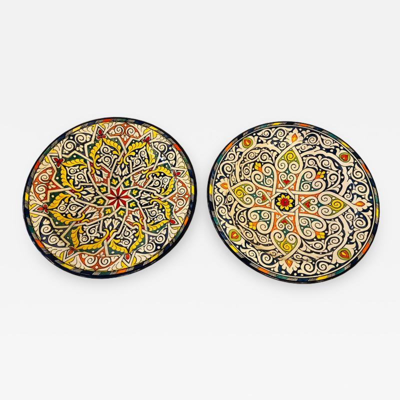 Atlas Showroom Pair of Hand Painted Large Ceramic Serving or Decorative Plates