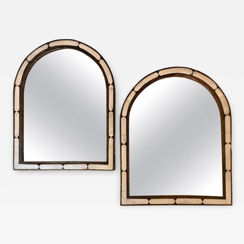Atlas Showroom Pair of Large Hollywood Regency Style Moroccan White Camel Bone Mirrors