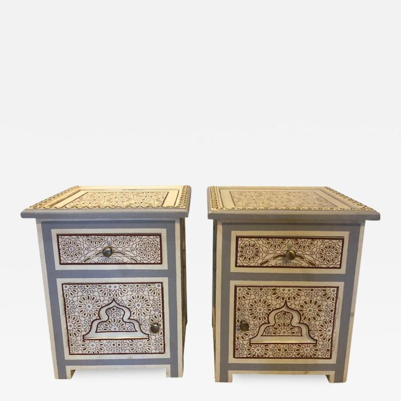 Atlas Showroom Pair of Moorish Style White Blue Gray and Burgundy Night Stand or End Tables