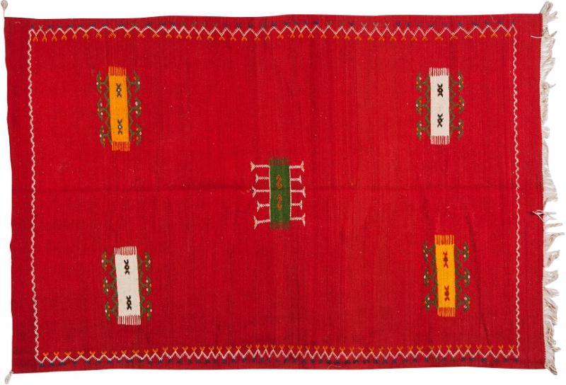 Atlas Showroom Red Berber Tribal Moroccan Medium Wool Rug