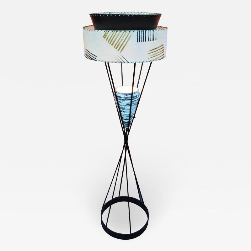 Atomic Wrought Iron Floor Lamp w Ceramic Uplight 2 Tier Fiberglass Shade