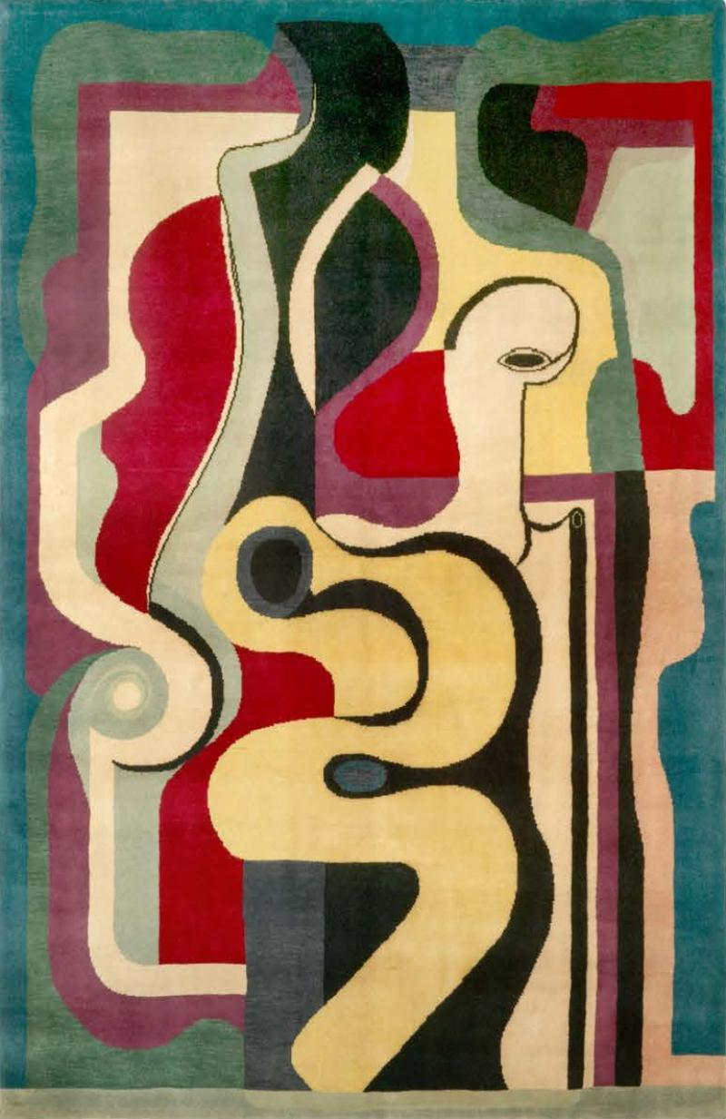 Auguste Herbin Hand Knotted Artistic Natural Silk Rug after Auguste Herbin Design N 66