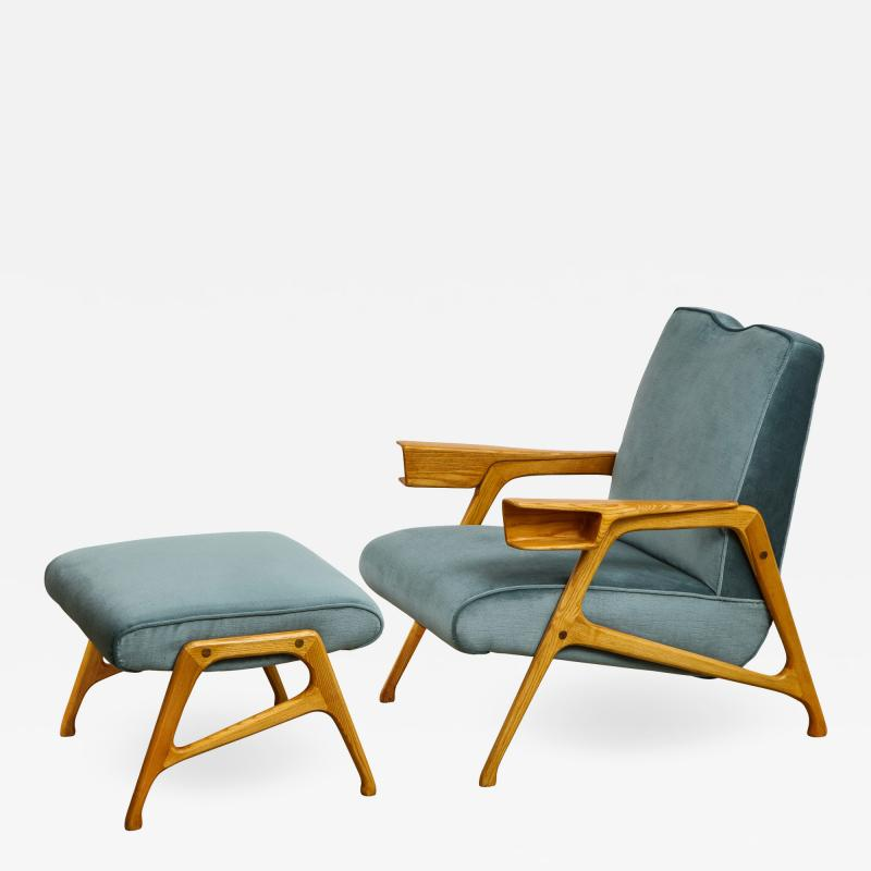 Augusto Romano Armchair and ottoman in mineral blue silk velvet by Augusto Romano for Cassina
