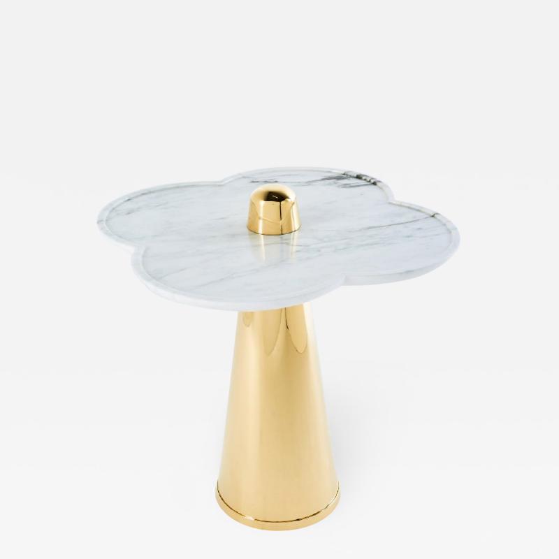 Aur lia Bire FLOWER White Marble Polished brass side table
