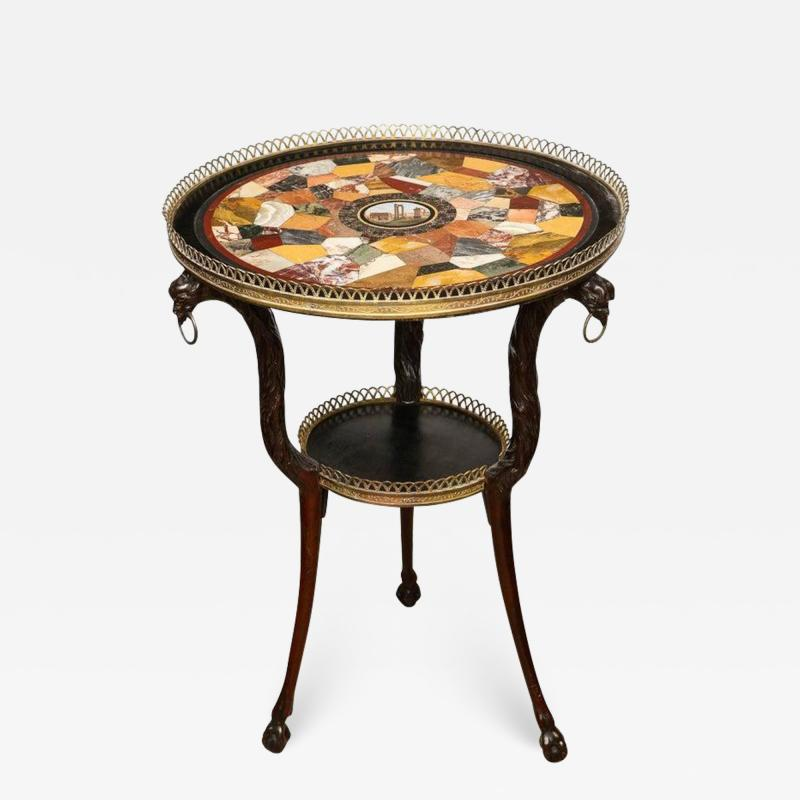 Austrian Neoclassical Gueridon with Micro Mosaic and Specimen Marble Top