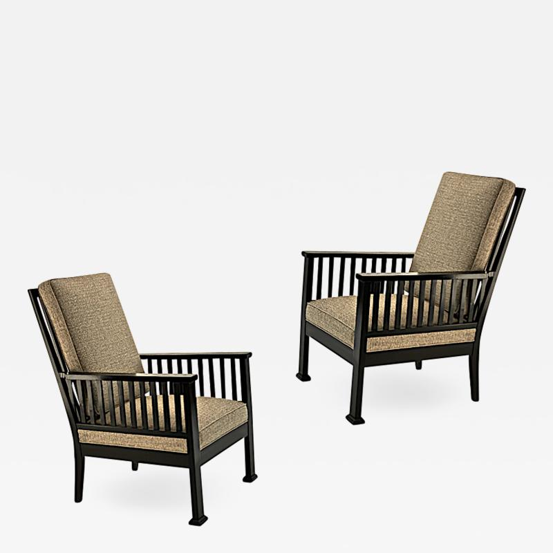 Austrian secession blackened wood pair of refined lounge chair