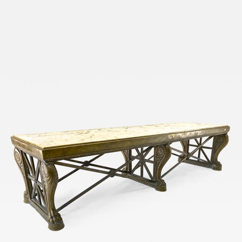Awesome sturdy and long bronze and marble coffee table