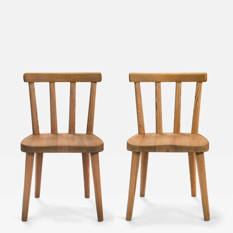 Axel Einar Hjorth Axel Einar Hjorth for Nordiska Kompaniet Pair of Swedish Solid Pine Ut Chairs