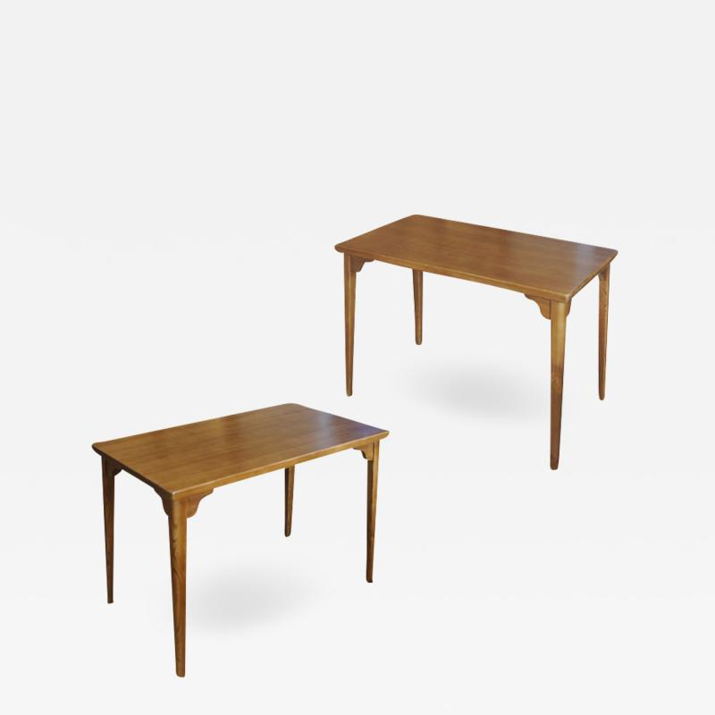 Axel Einar Hjorth Pair of Side Tables Consoles with Raked Legs in Pine by Axel Einar Hjorth