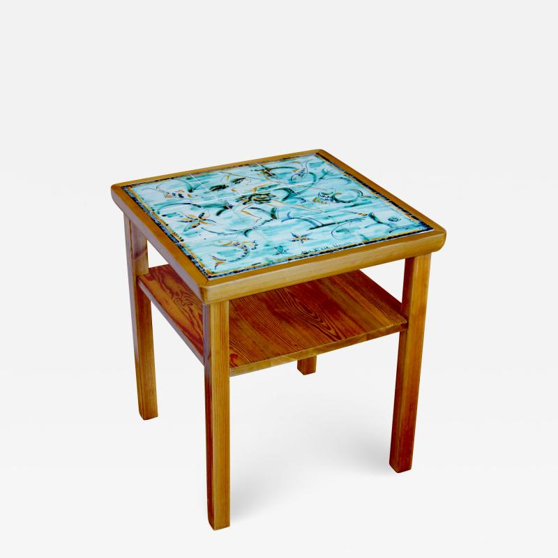 Axel Einar Hjorth W rmd Table in Pine by Axel Einar Hjorth with Tile Top by Anna Lia Thomson