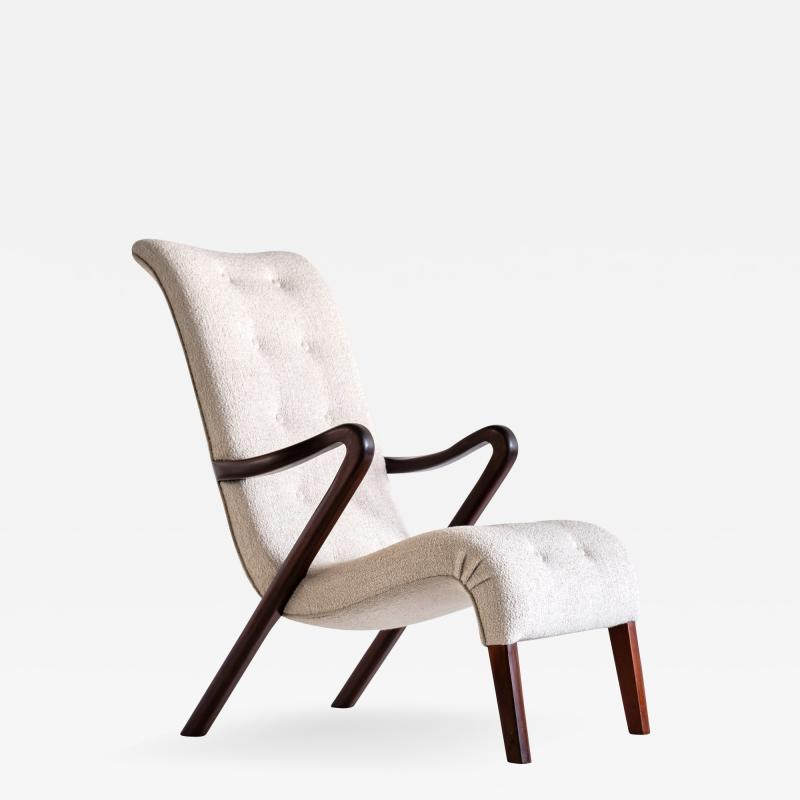 Axel Larsson Axel Larsson Armchair in Boucl and Mahogany Sweden 1940s