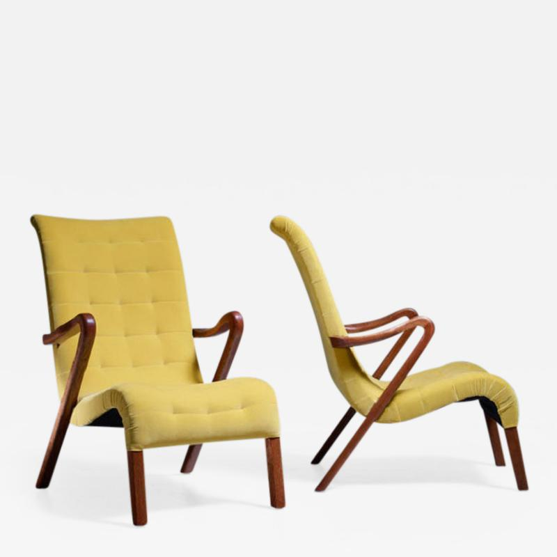 Axel Larsson Axel Larsson Pair of Lounge Chairs Sweden 1940s